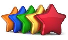 Cinco estrelas da estrela 5 dão forma à decoração do sucesso do serviço Fotografia de Stock Royalty Free