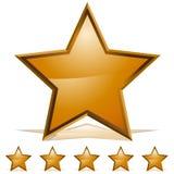 Cinco estrelas do ouro que avaliam o ícone Fotos de Stock Royalty Free