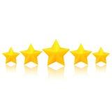 Cinco estrelas douradas Fotos de Stock