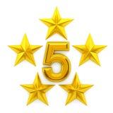 Cinco estrelas douradas Foto de Stock