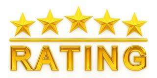 Cinco estrelas douradas Imagem de Stock Royalty Free
