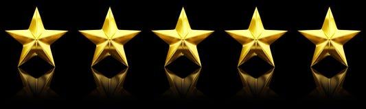 Cinco estrelas douradas brilhantes Fotos de Stock Royalty Free