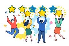 Cinco estrelas que avaliam o conceito liso do vetor do estilo ilustração stock