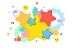 Cinco estrelas que avaliam o conceito liso do vetor do estilo ilustração royalty free