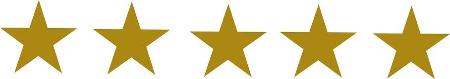 Cinco estrellas de oro fijadas ilustración del vector
