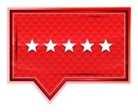 Cinco estrellas que valoraban el icono brumoso subieron botón rosado de la bandera stock de ilustración