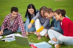 Cinco estudiantes que se sientan en la hierba que señala en el ordenador portátil Fotografía de archivo