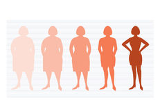 Cinco etapas de mujer del silhuette en la manera de perder el peso, ejemplos del vector foto de archivo libre de regalías