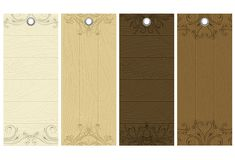 Cinco etiquetas de madeira, vetor Imagens de Stock Royalty Free