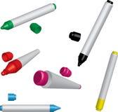 Cinco etiquetas de plástico coloridas Fotografía de archivo libre de regalías