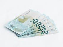 Cinco Euro do valor 20 das cédulas isolado em um fundo branco Fotografia de Stock Royalty Free