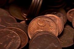 Cinco euro- moedas dos centavos Imagens de Stock Royalty Free