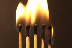 Cinco fósforos - incêndio fotografia de stock royalty free
