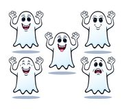 Cinco fantasmas de Dia das Bruxas Fotografia de Stock Royalty Free