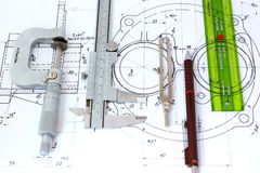 Cinco ferramentas de planejamento no modelo Fotografia de Stock