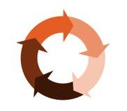 Cinco flechas de persecución en un círculo en tonos rojo marrón calientes Fotos de archivo libres de regalías