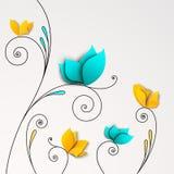 Cinco flores de papel abstratas ilustração stock