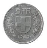 Cinco francos de moneda Imagen de archivo libre de regalías