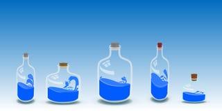 Cinco garrafas da ilustração da água ilustração stock