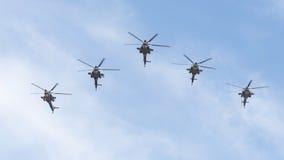Cinco helicópteros militares MI-28 Imagens de Stock Royalty Free