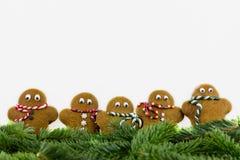 Cinco hombres de pan de jengibre con las ramas del abeto Foto de archivo libre de regalías