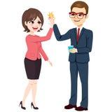 Cinco homem de negócios alto Businesswoman ilustração stock