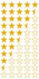 Cinco 5 iconos del sistema del grado de la calidad del producto de las estrellas, estrellas planas amarillas del vector con los m ilustración del vector