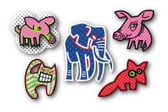 Cinco iconos extraños de los animales fotos de archivo