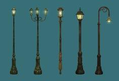 Cinco lámparas de calle ilustración del vector