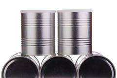 Cinco latas del metal Imagen de archivo
