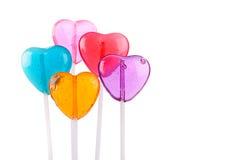 Cinco Lollipops del corazón del color Foto de archivo libre de regalías