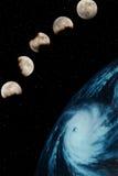 Cinco lunas y planeta Imagen de archivo libre de regalías