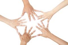 Cinco mãos diferentes conectadas Foto de Stock Royalty Free