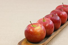Cinco manzanas rojas quebradizas en una fila Imagenes de archivo
