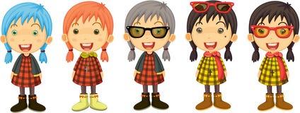Cinco meninas de canto Imagens de Stock