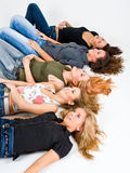 Cinco meninas no estúdio Imagem de Stock