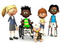 Cinco miúdos feridos dos desenhos animados. Foto de Stock