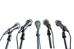 Cinco micrófonos Foto de archivo libre de regalías