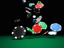 Cinco microplaquetas coloridas do póquer ilustração do vetor