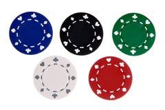 Cinco microplaquetas de jogo Fotografia de Stock