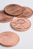 Cinco moedas de um centavo Imagens de Stock