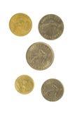 Cinco moedas francesas Fotografia de Stock