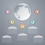 Cinco molde infographic do vetor 3D das etapas com mapa do mundo Fotografia de Stock