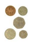 Cinco monedas inglesas 2 Imágenes de archivo libres de regalías