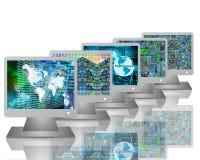 Cinco monitores Fotografia de Stock
