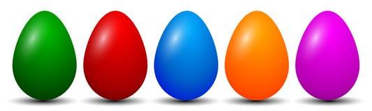 Cinco ovos da páscoa, coleção de ovos coloridos, símbolo da Páscoa - ilustração royalty free