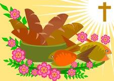 Cinco panes y dos pescados stock de ilustración