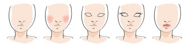 Cinco pasos de progresión del maquillaje Imagen de archivo libre de regalías