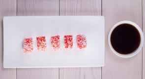 Cinco pedazos de sushi Fotografía de archivo