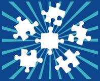Cinco pedazos del rompecabezas en azul Imágenes de archivo libres de regalías